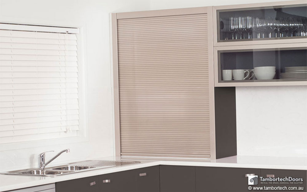 Roller Shutter Doors For Kitchens. Benchtop Storage
