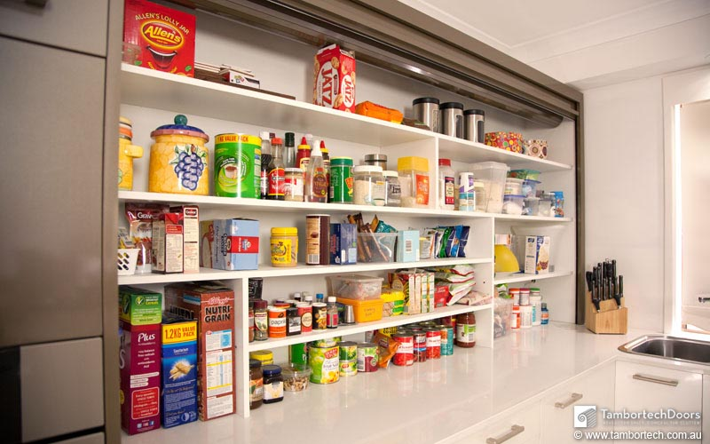 Benchtop Pantry made possible with a Tambortech Door